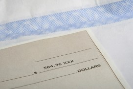 Close up of a check
